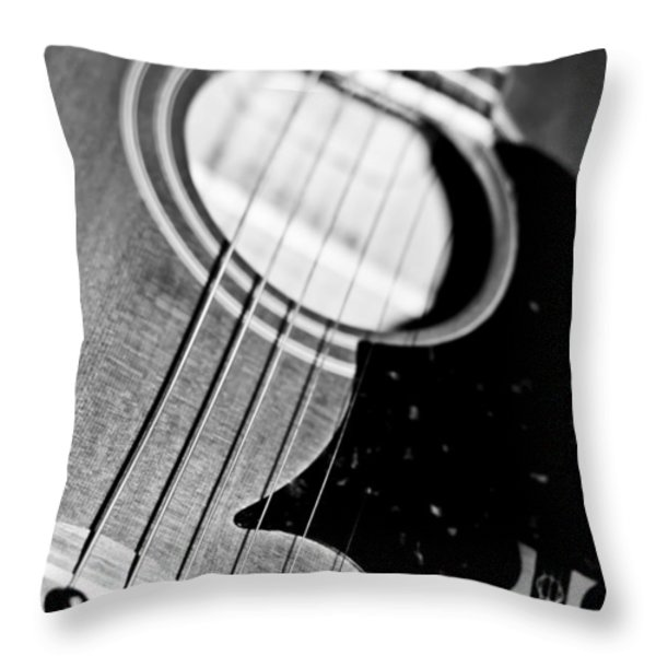Black And White Harmony Guitar Throw Pillow by Athena Mckinzie
