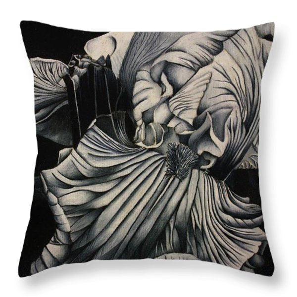 Black And White Iris Study Throw Pillow by Bruce Bley