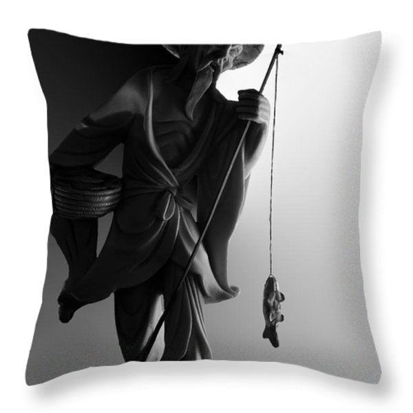 Black And White Ivory Fisherman Throw Pillow by Sean Kirkpatrick