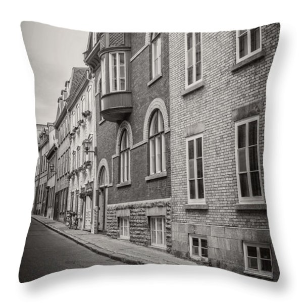 Black And White Old Style Photo Of Old Quebec City Throw Pillow by Edward Fielding