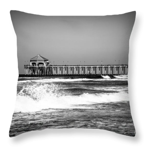 Black And White Picture Of Huntington Beach Pier Throw Pillow by Paul Velgos