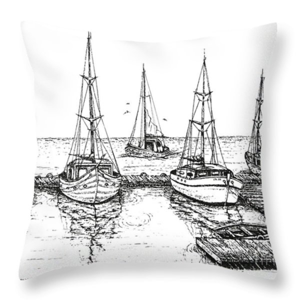 Black And White With Pen And Ink Drawing Of The Berth Throw Pillow by Mario Perez
