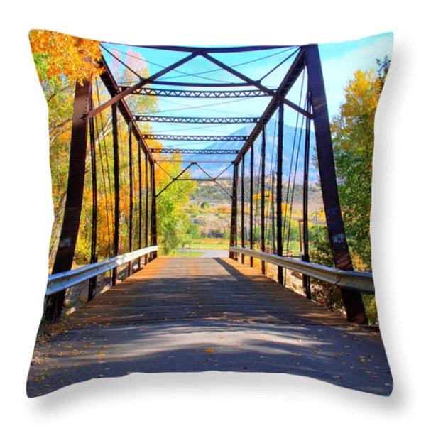 Black Bridge Throw Pillow by Bob Hislop