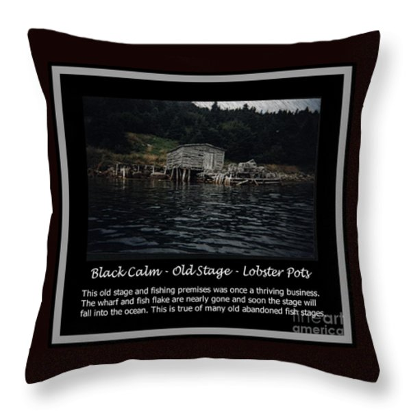 Black Calm - Old Stage - Lobster Pots Throw Pillow by Barbara Griffin