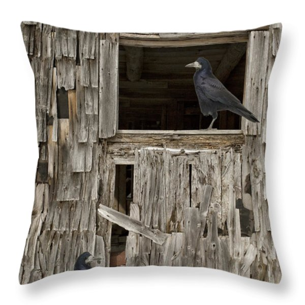 Black crows at the old barn Throw Pillow by Edward Fielding