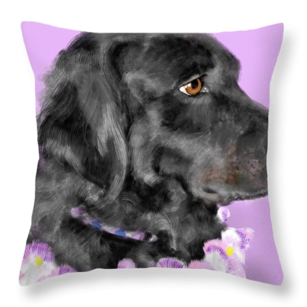 Black Dog Pretty In Lavender Throw Pillow by Lois Ivancin Tavaf
