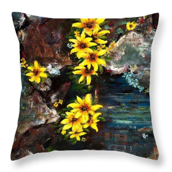 Black-eyed Susans Throw Pillow by Frances Marino