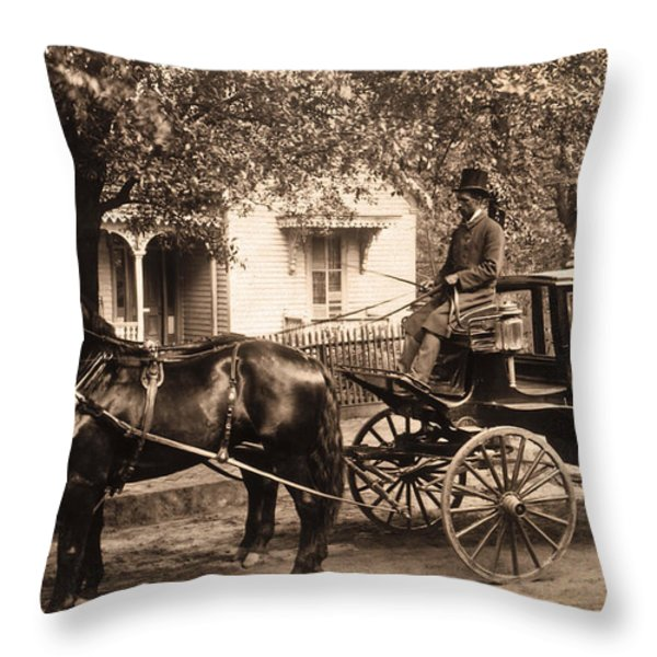 Black family in buggy Throw Pillow by Paul W Faust -  Impressions of Light