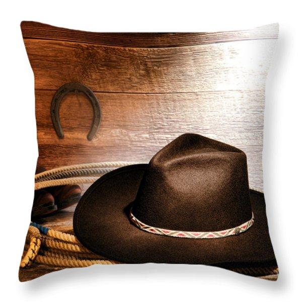 Black Felt Cowboy Hat Throw Pillow by Olivier Le Queinec