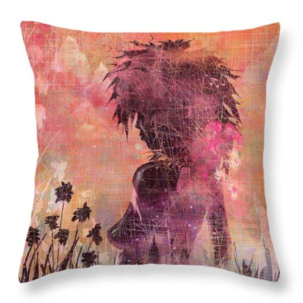 Black Flower Throw Pillow by Rachel Christine Nowicki