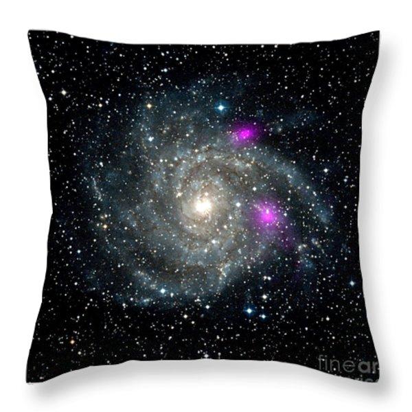 Black Holes In Spiral Galaxy Nasa Throw Pillow by Rose Santuci-Sofranko