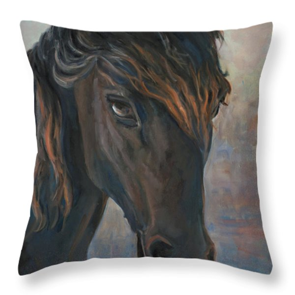 Black Horse Throw Pillow by Marco Busoni