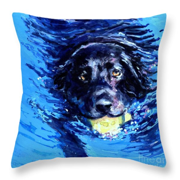Black Lab  Blue Wake Throw Pillow by Molly Poole