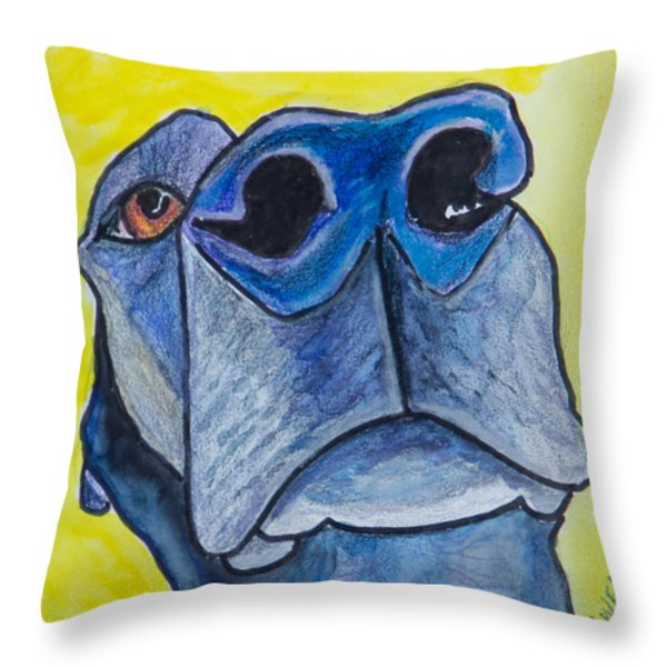Black Lab Nose Throw Pillow by Roger Wedegis