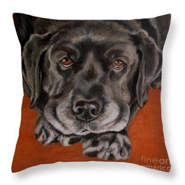 Black Labrador Rests Head Rescue Dog Throw Pillow by Amy Reges