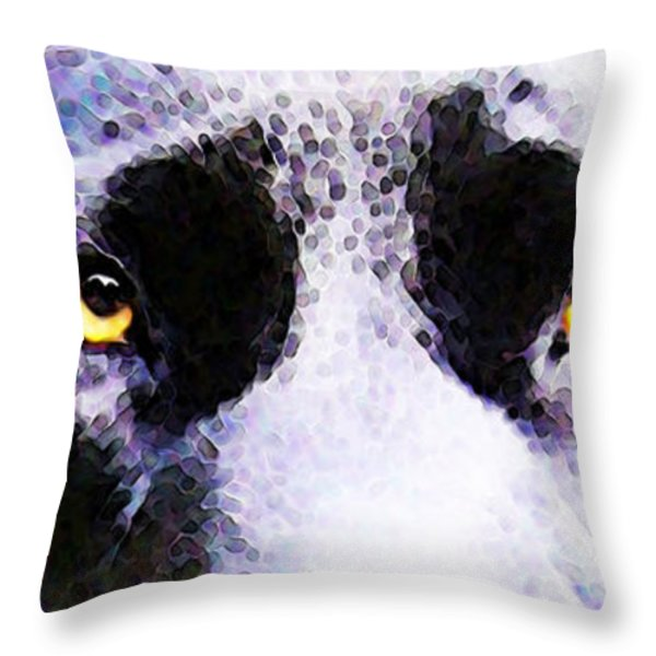 Black Labrador Retriever Dog Art - Lab Eyes Throw Pillow by Sharon Cummings