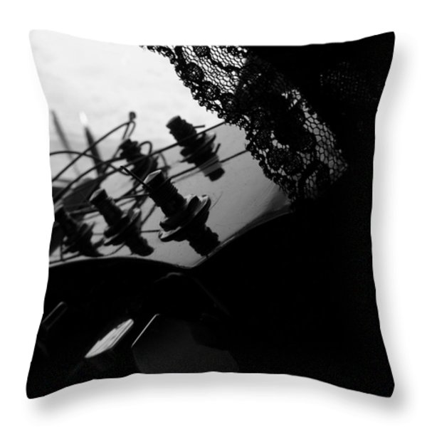 Black Lace Valentine Throw Pillow by Barbara St Jean