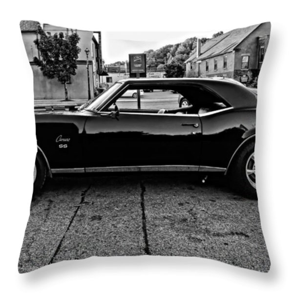Black Muscle Monochrome Throw Pillow by Steve Harrington