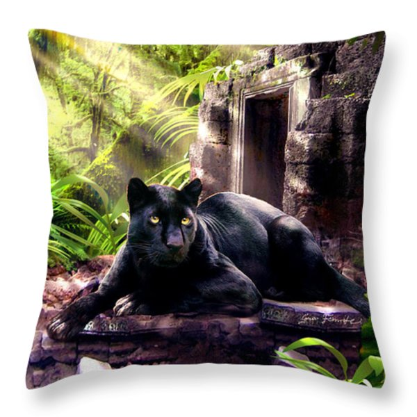 Black Panther Custodian Of Ancient Temple Ruins  Throw Pillow by Gina Femrite