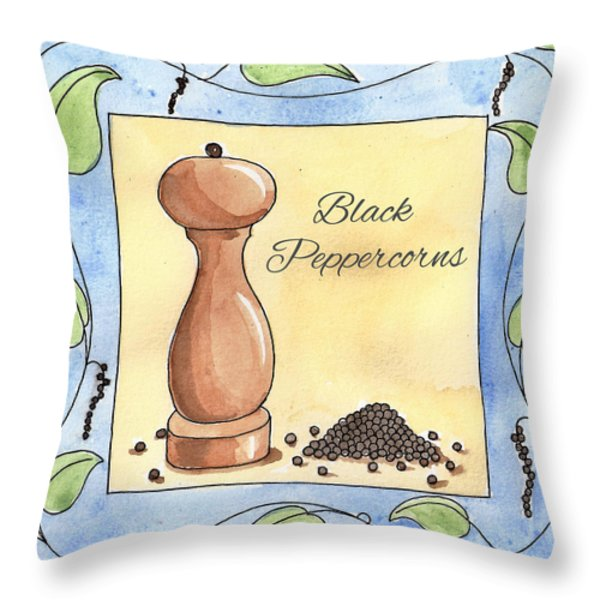 Black Peppercorns Kitchen Art Throw Pillow by Christy Beckwith