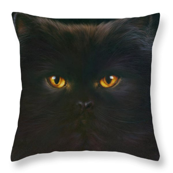 Black Persian Throw Pillow by Andrew Farley