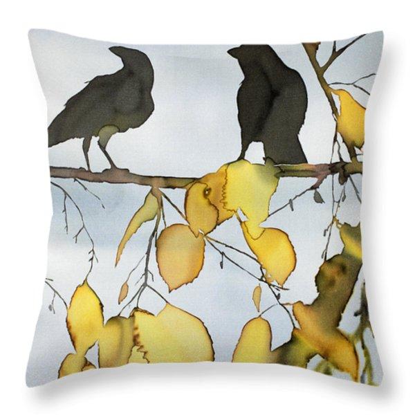 Black Ravens In Birch Throw Pillow by Carolyn Doe