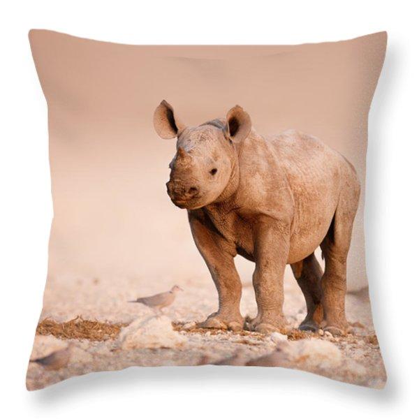 Black Rhinoceros baby Throw Pillow by Johan Swanepoel