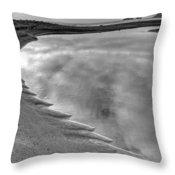 Black Sand Icelandic Beach Throw Pillow by Claudio Bacinello