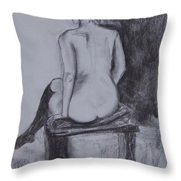 Black Stockings Throw Pillow by Jolanta Benson