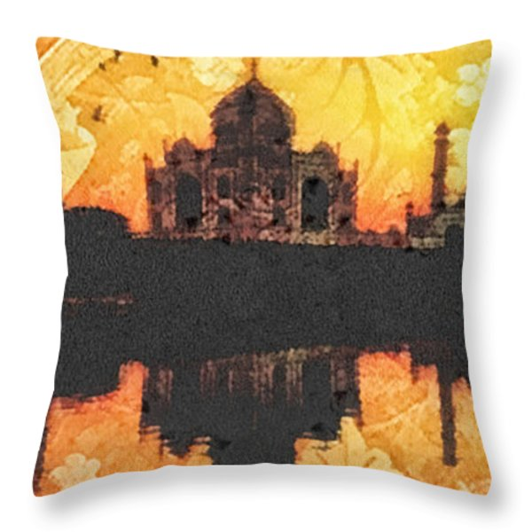 Black Taj Mahal Throw Pillow by Mo T