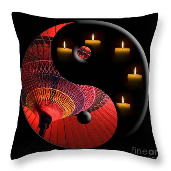 Black Tao Throw Pillow by Delphimages Photo Creations