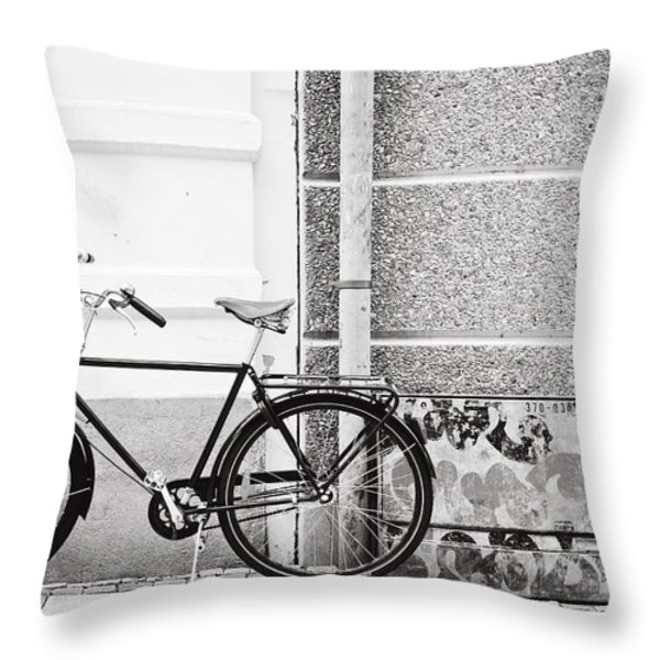 Black Vintage Bicycle Throw Pillow by Jimmy Karlsson