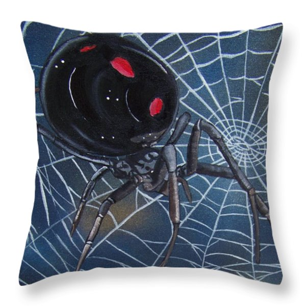Black Widow Throw Pillow by Debbie LaFrance