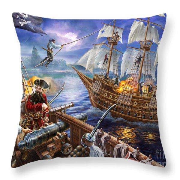 Blackbeard Throw Pillow by Adrian Chesterman
