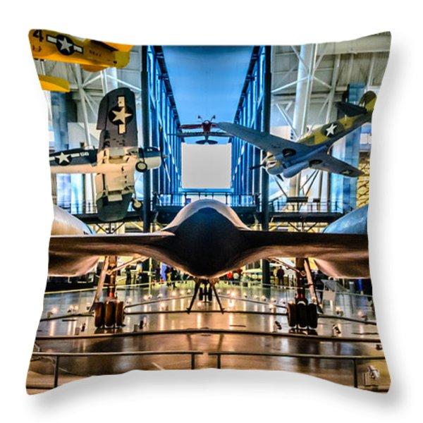 Blackbird Rear View Throw Pillow by Randy Scherkenbach