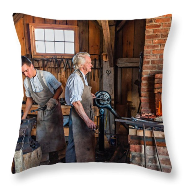 Blacksmith and Apprentice 2 Throw Pillow by Steve Harrington