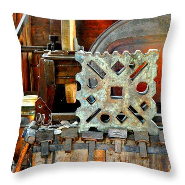 Blacksmith Blues Throw Pillow by Lauren Hunter
