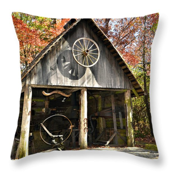Blacksmith Shop Throw Pillow by Susan Leggett