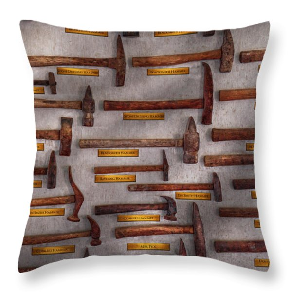 Blacksmith - Tools - Pounding headache  Throw Pillow by Mike Savad