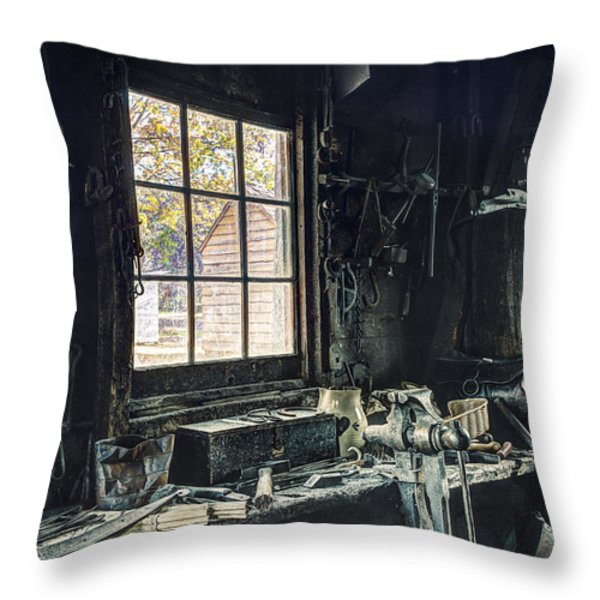 Blacksmiths Workbench - One October Afternoon Throw Pillow by Gary Heller