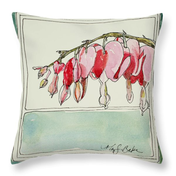 Bleeding Hearts II Throw Pillow by Mary Benke