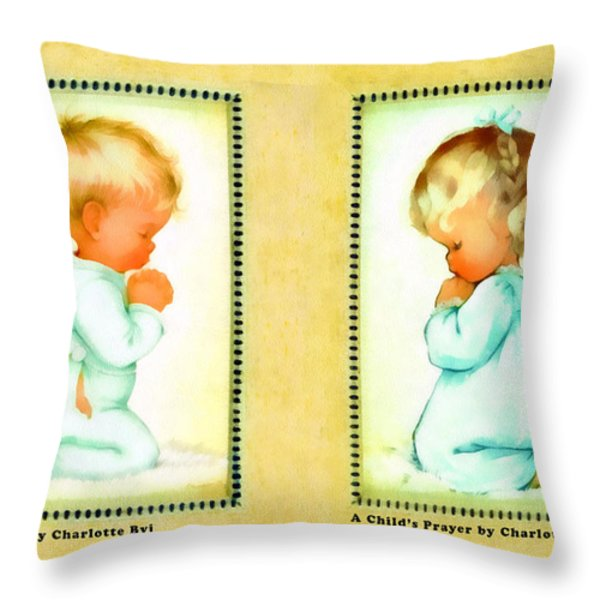 Bless Us All and A Childs Prayer Throw Pillow by Charlotte Byj