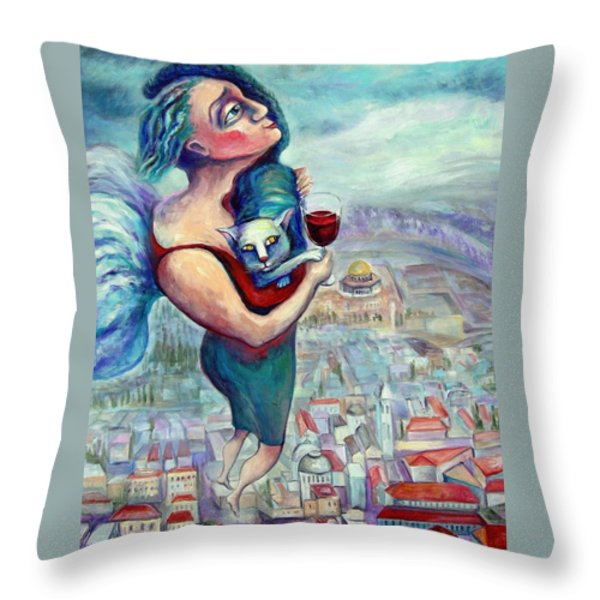 BLESSING OVER THE WINE Throw Pillow by Elisheva Nesis