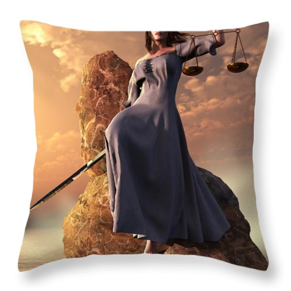 Blind Justice With Scales And Sword Throw Pillow by Daniel Eskridge