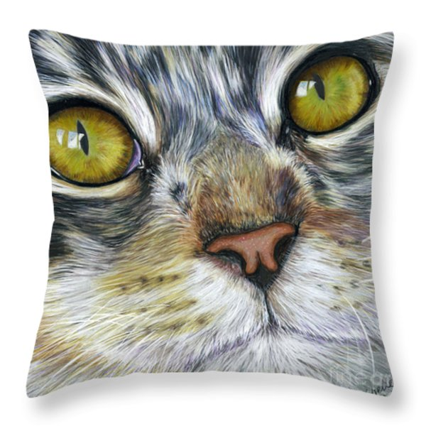 Stunning Cat Painting Throw Pillow by Michelle Wrighton