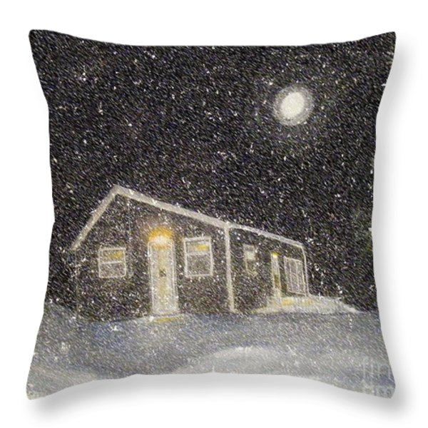 Blizzard at the Cabin Throw Pillow by Barbara Griffin