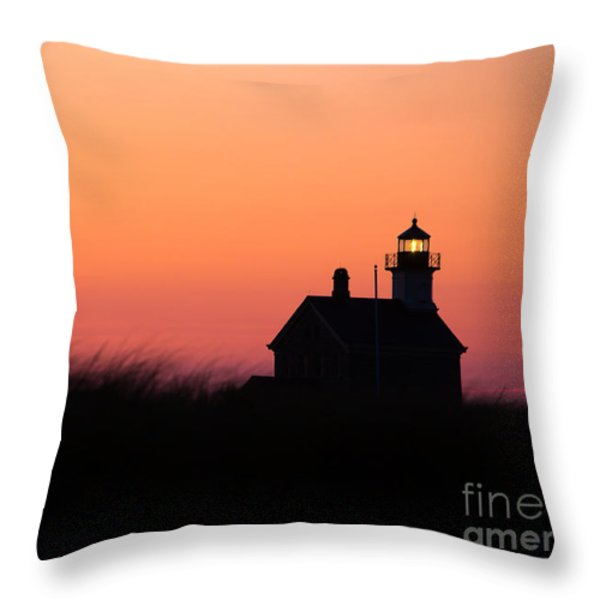 Block Island North Lighthouse Throw Pillow by Diane Diederich