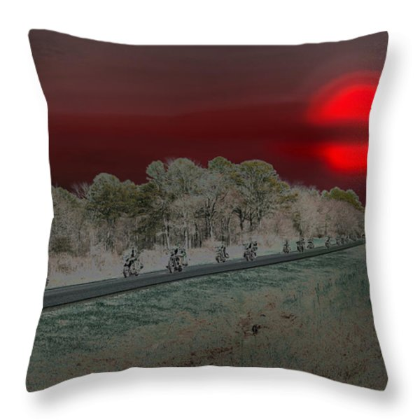 Blood Moon And Speed Throw Pillow by Nina Fosdick