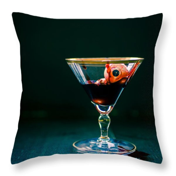 Bloody eyeball in martini glass Throw Pillow by Edward Fielding