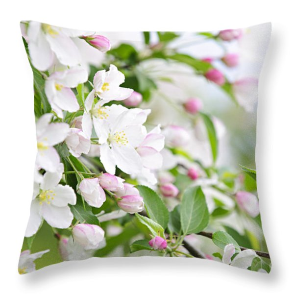 Blooming Apple Tree Throw Pillow by Elena Elisseeva